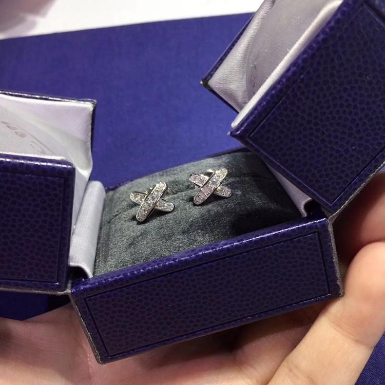 純銀 CHAUMET 尚美巴黎 超模何穗同款X型耳環_5
