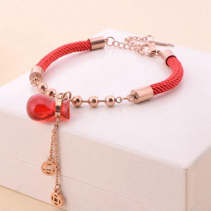 可愛轉運葫蘆錢袋銅錢18K玫瑰金彩金鈦鋼紅繩手鍊 女_0