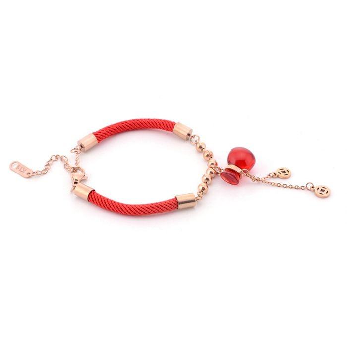可愛轉運葫蘆錢袋銅錢18K玫瑰金彩金鈦鋼紅繩手鍊 女_3