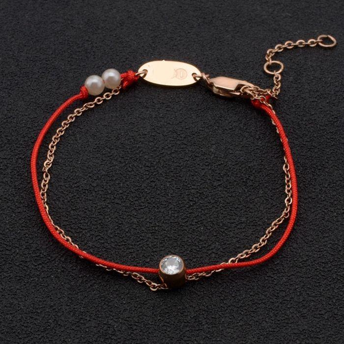 百搭情侶鈦鋼轉運 雙白色珍珠全繩全鍊鈦鋼紅繩手鍊_3