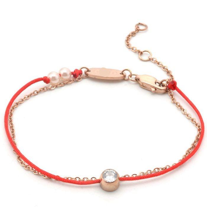 百搭情侶鈦鋼轉運 雙白色珍珠全繩全鍊鈦鋼紅繩手鍊_0