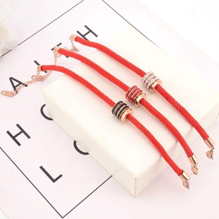 本命年紅繩手鍊女 韓版簡約三環帶鑽百搭飾品手繩_1