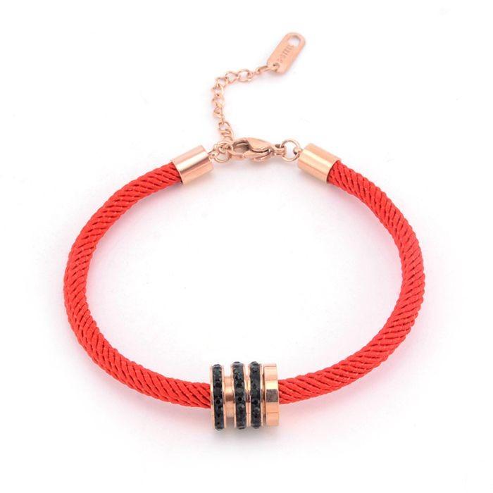 本命年紅繩手鍊女 韓版簡約三環帶鑽百搭飾品手繩_2