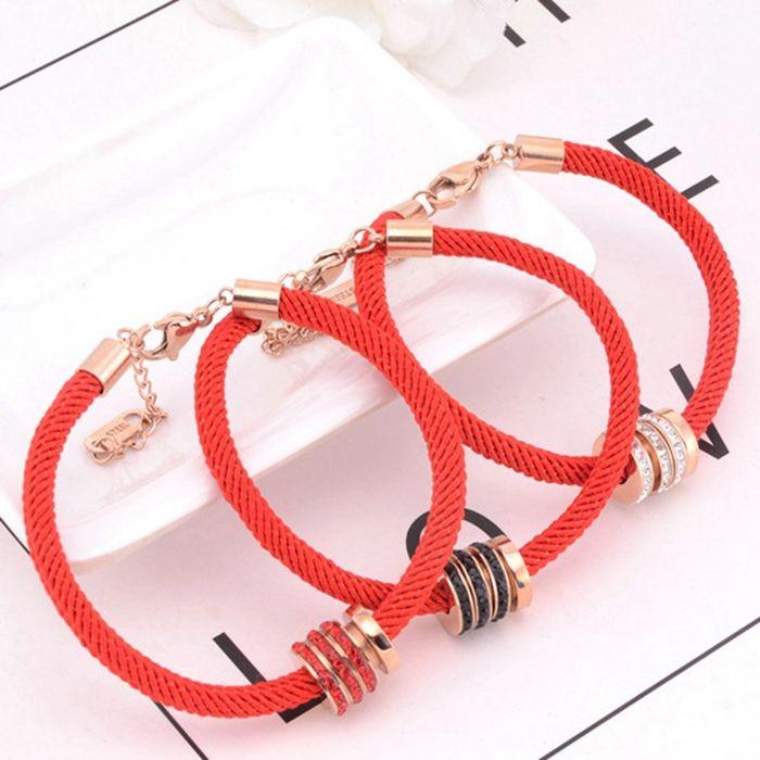 本命年紅繩手鍊女 韓版簡約三環帶鑽百搭飾品手繩_0
