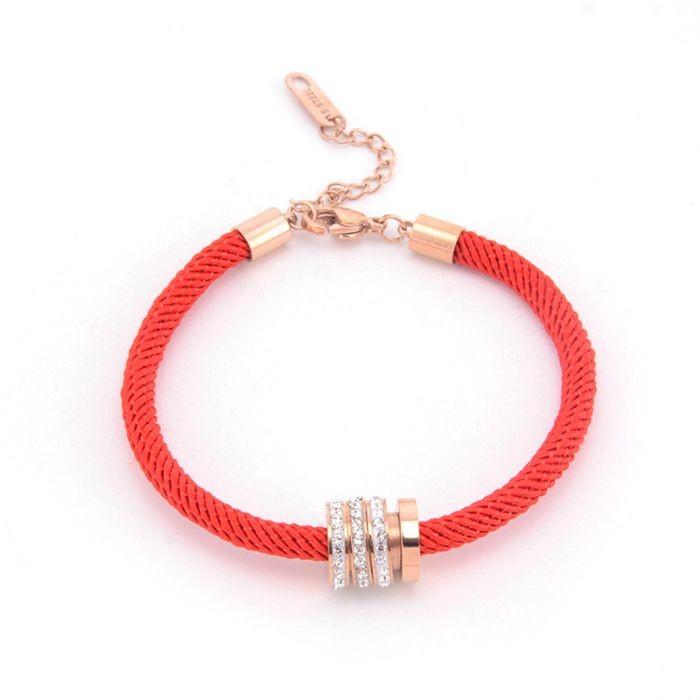 本命年紅繩手鍊女 韓版簡約三環帶鑽百搭飾品手繩_3