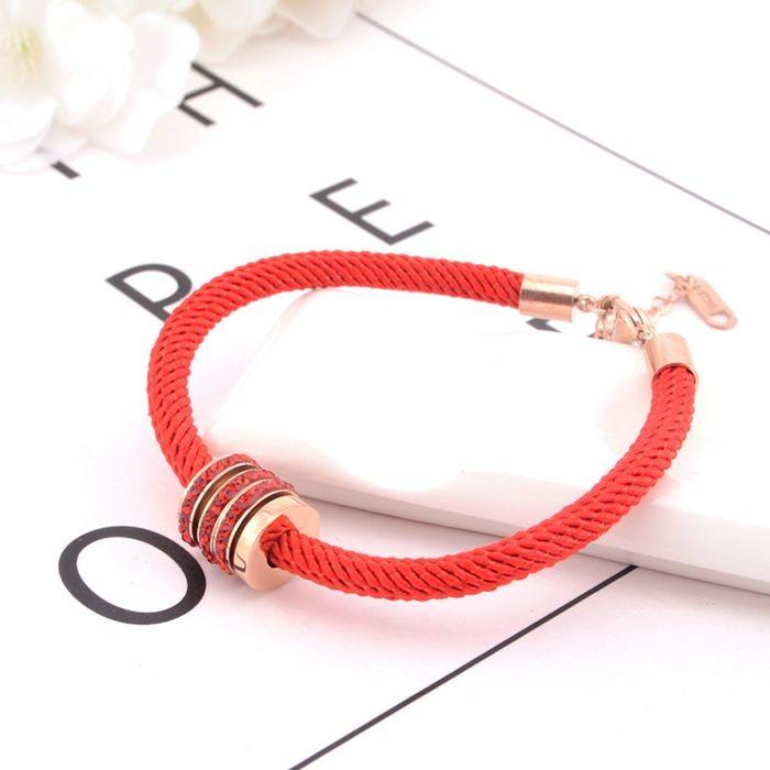 本命年紅繩手鍊女 韓版簡約三環帶鑽百搭飾品手繩_4
