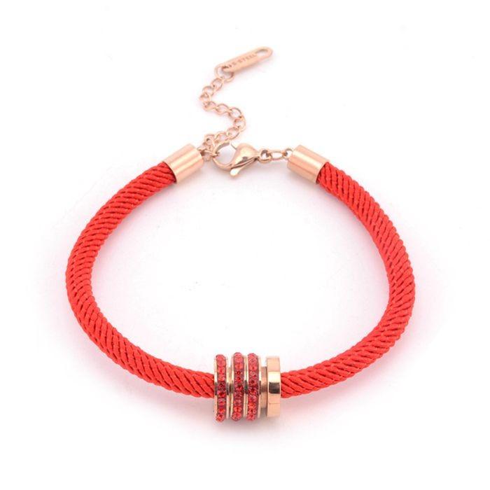 本命年紅繩手鍊女 韓版簡約三環帶鑽百搭飾品手繩_5