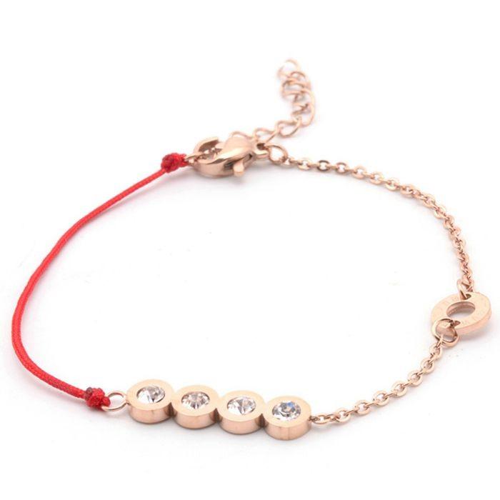 韓版 流行四鑽羅馬數字紅繩鈦鋼玫瑰金手鍊女生百搭手鍊_0