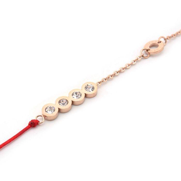 韓版 流行四鑽羅馬數字紅繩鈦鋼玫瑰金手鍊女生百搭手鍊_2