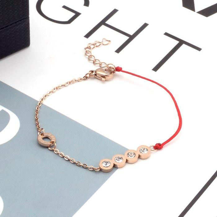 韓版 流行四鑽羅馬數字紅繩鈦鋼玫瑰金手鍊女生百搭手鍊_3