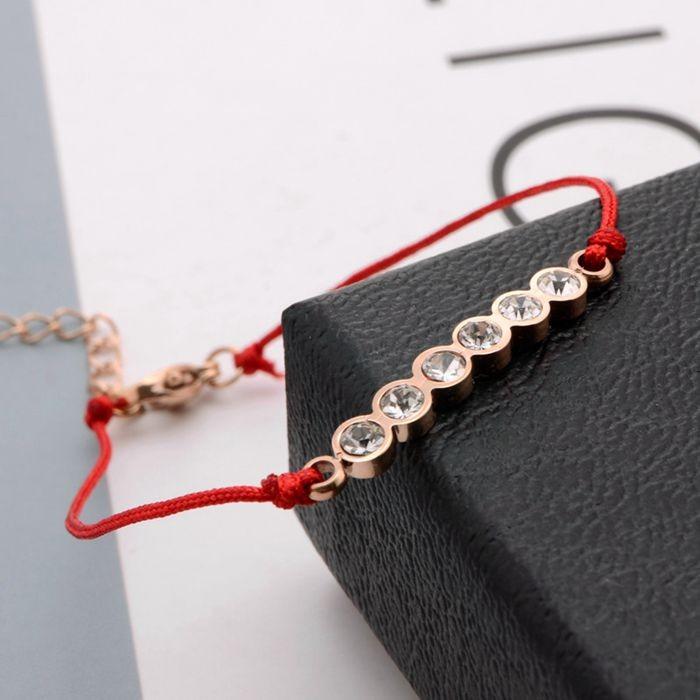韓版 流行六鑽羅馬數字紅繩轉運玫瑰金手鍊 女生百搭手鍊_2