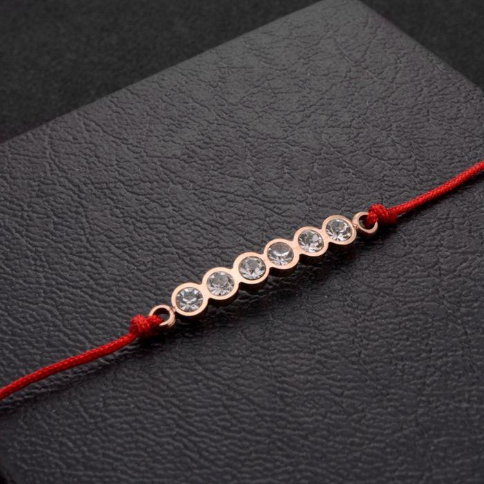 韓版 流行六鑽羅馬數字紅繩轉運玫瑰金手鍊 女生百搭手鍊_1