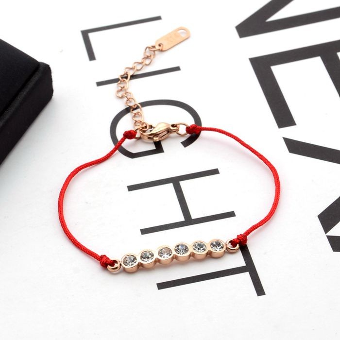韓版 流行六鑽羅馬數字紅繩轉運玫瑰金手鍊 女生百搭手鍊_4