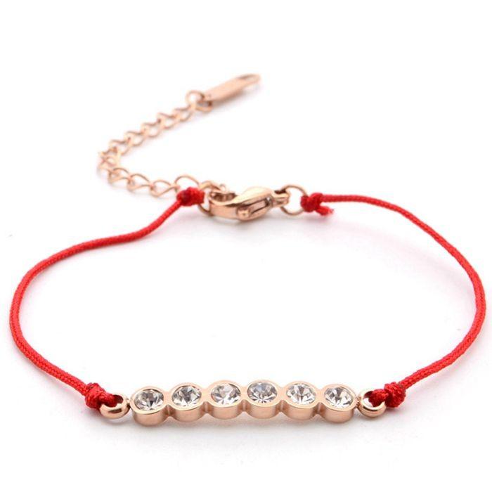 韓版 流行六鑽羅馬數字紅繩轉運玫瑰金手鍊 女生百搭手鍊_0