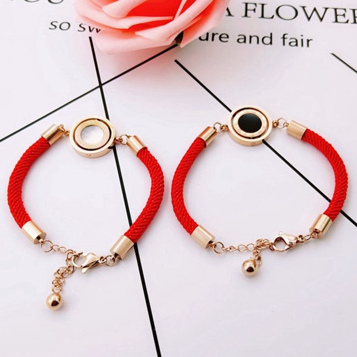 羅馬標雙面轉動圓紅繩鈦鋼手鍊韓版韓式手飾本命年配飾吉祥飾品_0