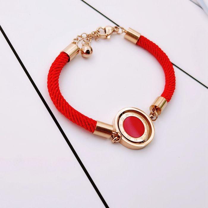 羅馬標雙面轉動圓紅繩鈦鋼手鍊韓版韓式手飾本命年配飾吉祥飾品_3