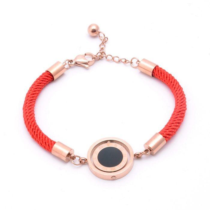 羅馬標雙面轉動圓紅繩鈦鋼手鍊韓版韓式手飾本命年配飾吉祥飾品_5