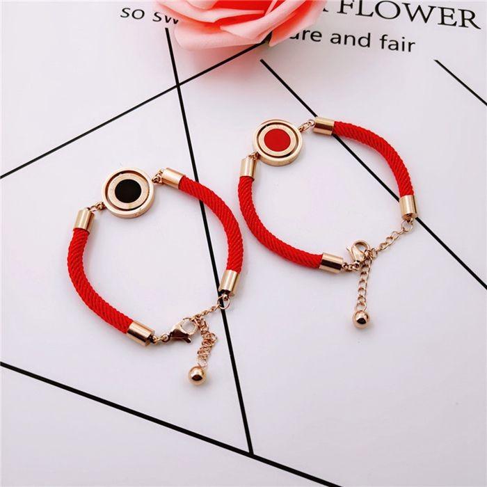 羅馬標雙面轉動圓紅繩鈦鋼手鍊韓版韓式手飾本命年配飾吉祥飾品_1