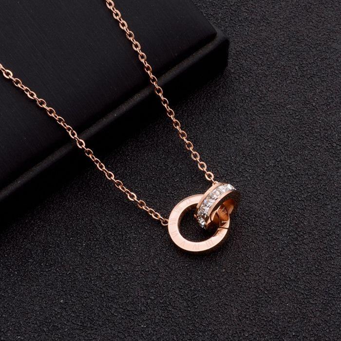 鈦鋼飾品鍍18k玫瑰金鎖骨鍊女時尚項飾鑲鑽羅馬數字吊墜雙環項鍊_3