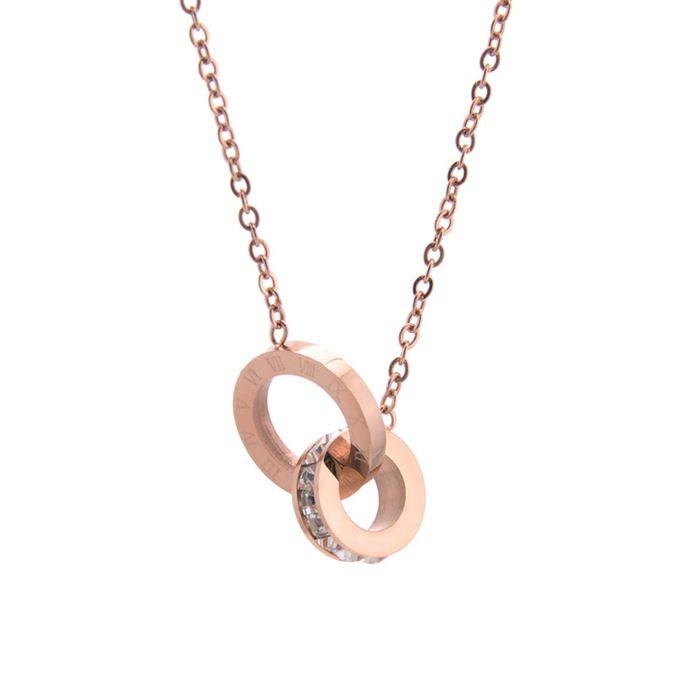 鈦鋼飾品鍍18k玫瑰金鎖骨鍊女時尚項飾鑲鑽羅馬數字吊墜雙環項鍊_2