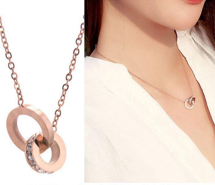 鈦鋼飾品鍍18k玫瑰金鎖骨鍊女時尚項飾鑲鑽羅馬數字吊墜雙環項鍊_0