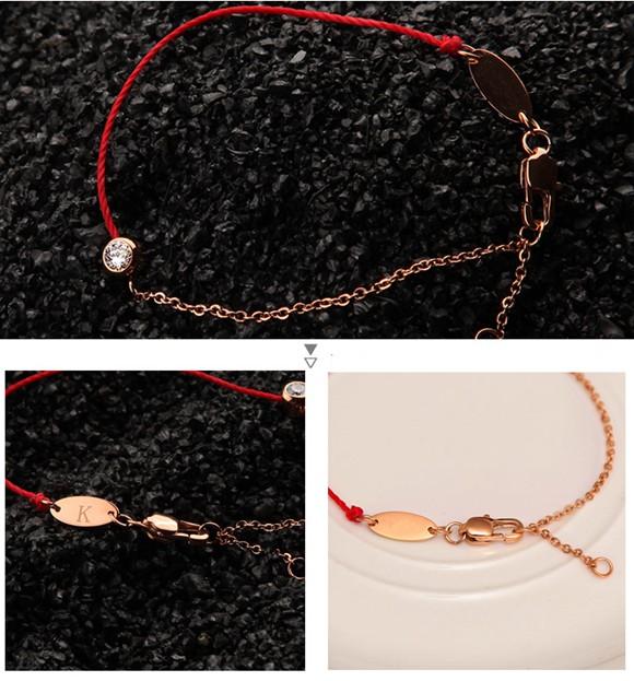 紅繩手鍊 單鑽百搭 鈦鋼鍍彩金飾品_1