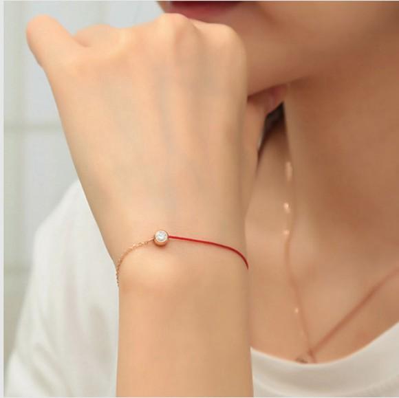 紅繩手鍊 單鑽百搭 鈦鋼鍍彩金飾品_0