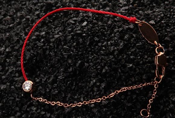 紅繩手鍊 單鑽百搭 鈦鋼鍍彩金飾品_3