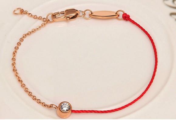 紅繩手鍊 單鑽百搭 鈦鋼鍍彩金飾品_4