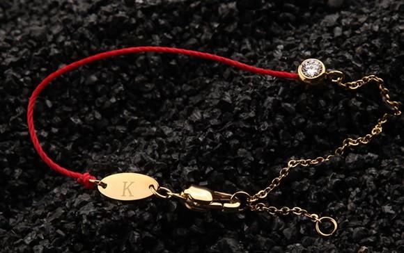 紅繩手鍊 單鑽百搭 鈦鋼鍍彩金飾品_2