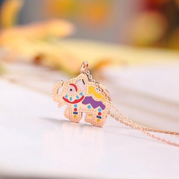 小象項鍊鍍18K金彩金鎖骨鍊 女款玫瑰金_2