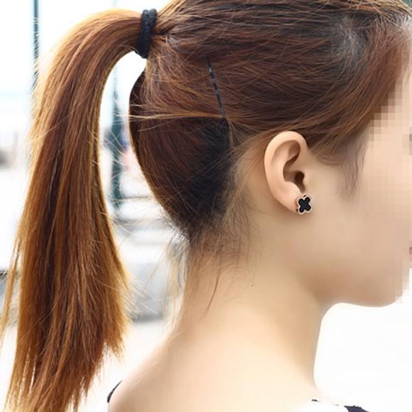 日韓版鍍18K玫瑰金鈦鋼四葉草耳釘日韓國簡約黑色耳環_5