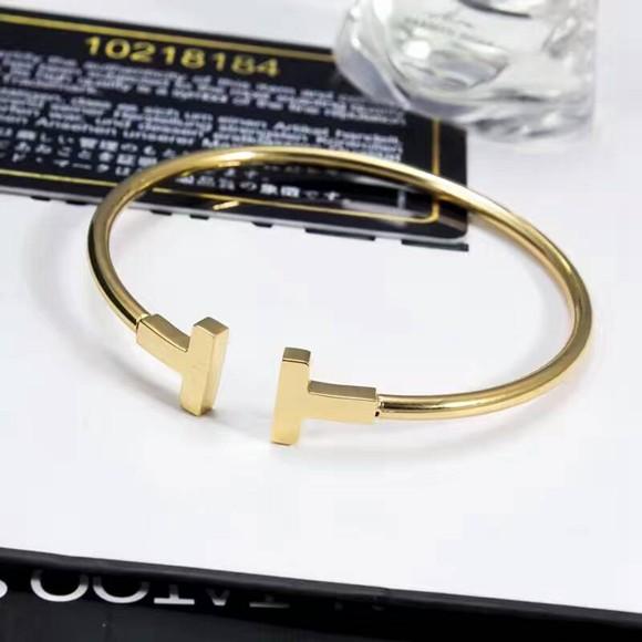 18K玫瑰金彩金手環經典 T字歐美風手環女款_2