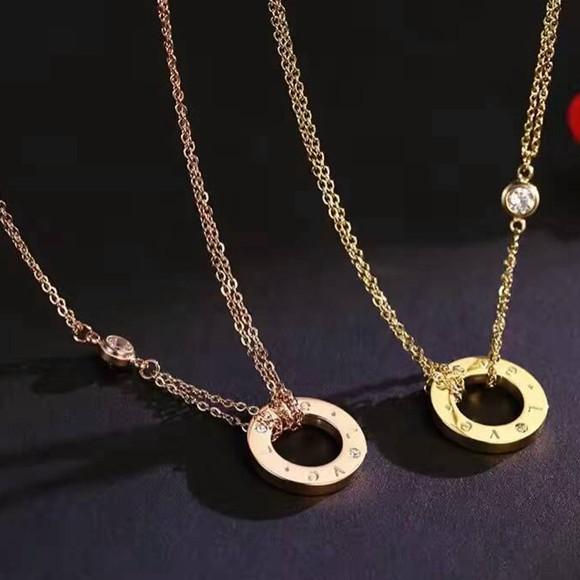 love圓環吊墜雙層項鏈鍍18k短鎖骨鏈_0