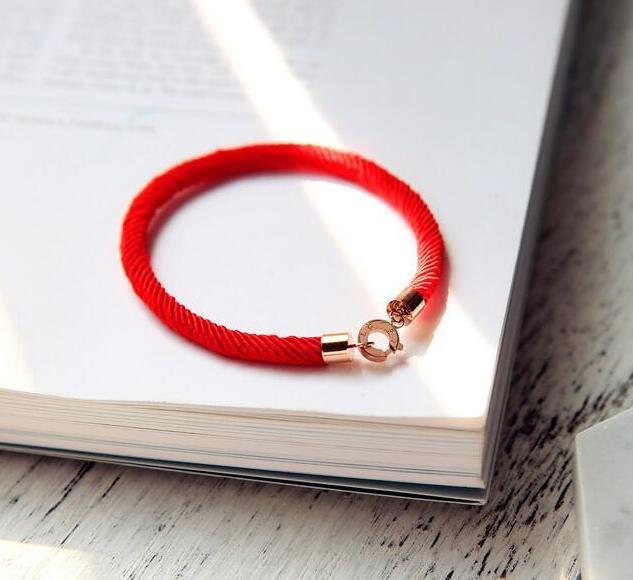 玫瑰金鈦鋼鍍18K紅繩手鍊_1