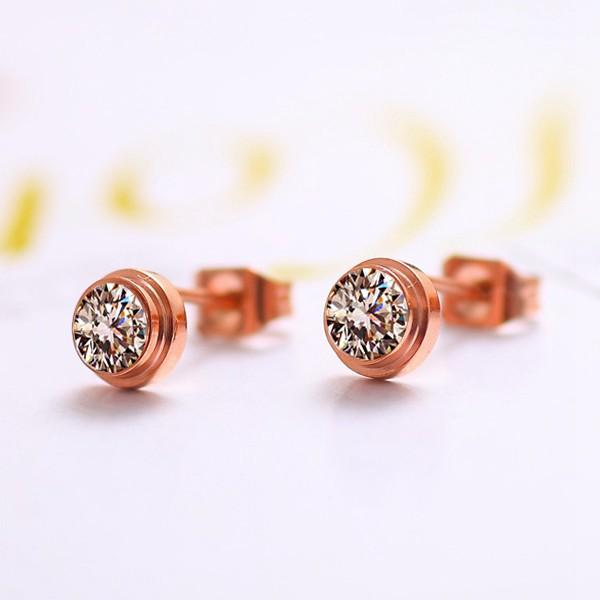 單鑽耳環鍍18K玫瑰金女耳環鈦鋼飾品_3