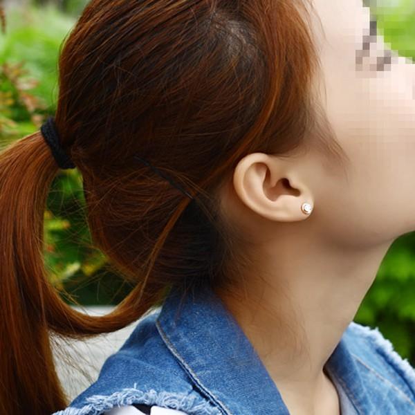 單鑽耳環鍍18K玫瑰金女耳環鈦鋼飾品_5