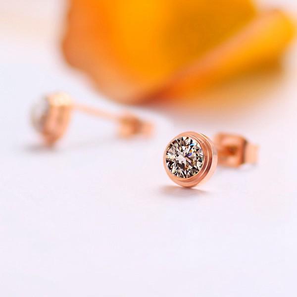 單鑽耳環鍍18K玫瑰金女耳環鈦鋼飾品_1