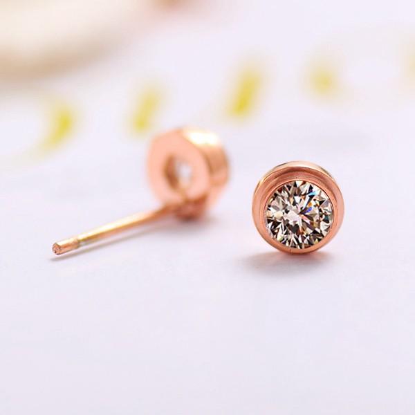 單鑽耳環鍍18K玫瑰金女耳環鈦鋼飾品_2