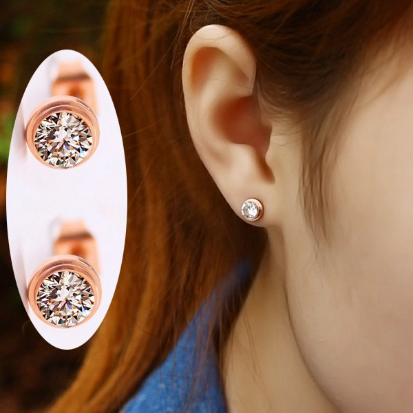 單鑽耳環鍍18K玫瑰金女耳環鈦鋼飾品_6