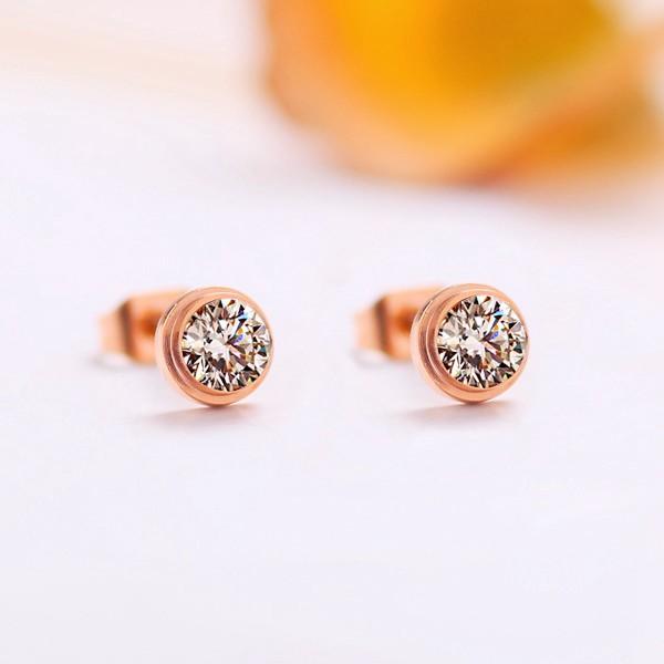 單鑽耳環鍍18K玫瑰金女耳環鈦鋼飾品_4