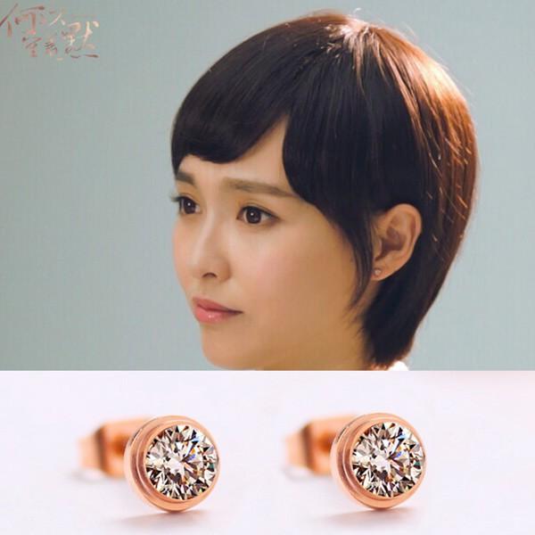 單鑽耳環鍍18K玫瑰金女耳環鈦鋼飾品_0