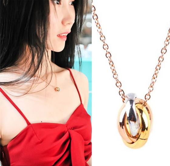 三色三環情侶項鏈吊墜日韓版鈦鋼鍍金飾品_0