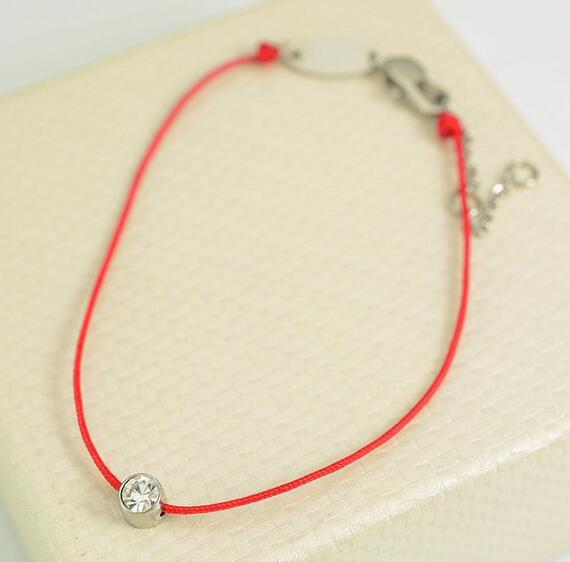 紅繩手鍊 單鑽百搭 鈦鋼飾品批發_2