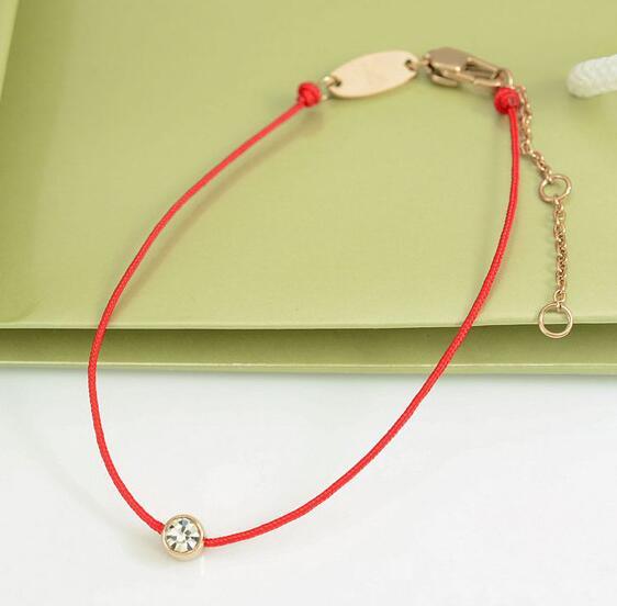 紅繩手鍊 單鑽百搭 鈦鋼飾品批發_3