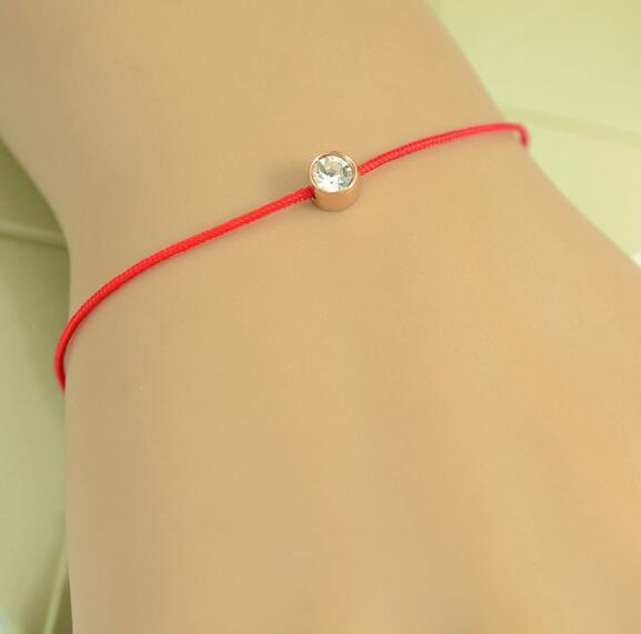紅繩手鍊 單鑽百搭 鈦鋼飾品批發_0